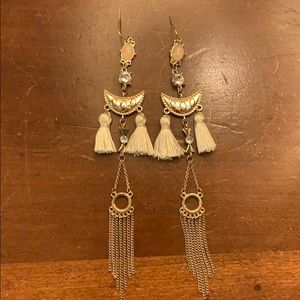 Long dangling tassel earrings